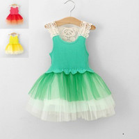 Wholesale 2014 Summer New Arrival Baby Girls Kids Dresses Sleeveless Hollow Tiered Veil Super Tutu Vest Dress Children Clothing Color For Y