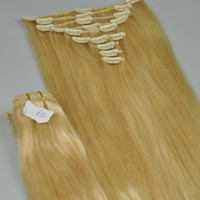 Wholesale 2sets in clips g set blonde clip in hair extension no shedding amp tangle human hair Cheap clip in hair extension free DHL