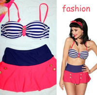 Wholesale New Hot retro sexy high waist women push up stripe bikini two piece swimwear swimsuit S XL t5972