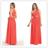 Model Pictures Floral Ribbon Sleeveless 2014 Elegant Column One Shoulder Ruched Coral Chiffon Long Prom Dresses Formal Bridesmaid Dresses Cheap Under 100 with Floral Ribbon