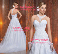 Wholesale Vintage Beach A Line Wedding Dresses Sexy White Lace Halter Neck Sweetheart Backless Appliques Beaded Organza Court Train Bridal Gowns LT47