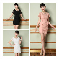 Wholesale 2014 Occident Style Spring Women Dresses OL Lace Splicing Design Short Sleeve Business Wear casual Slim Dresses Pencil Dresses