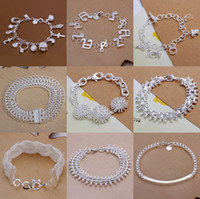 Wholesale 925 Silver Bracelet Jewelry Stars Moon Musical Note Lock Squares Ball Charm Wide Bracelet