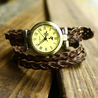 Antique Unisex Quartz-Battery 2014 new women punk watches, hot sale 4 rings knitted bracelet watches women fashion watches clocks,drop shipping