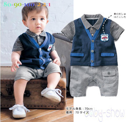 Wholesale Baby Romper Clothing Summer Short sleeve Gentleman modelling Infant Rompers lapel waistcoat Kids Jumpsuits size TX40