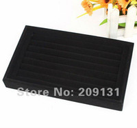 Wholesale 2pcs Black rows Jewelry Ring Earring box big size