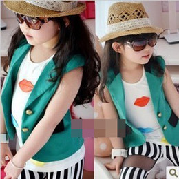 Wholesale Bontique Girls Sleeveless Outwear Jacket Children Clothing Summer New Vest Cardigan Kids Clothes Tank Top Suspender Tops Green D2144