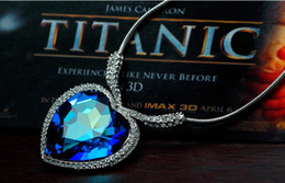 Fashion Titanic Ocean Heart Crystal Pendant Necklace For Women Crystal Rhinestone Jewelry Accessories Gift Charms Blue Heart Sweater Chain