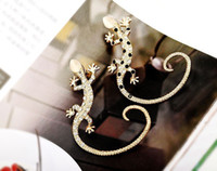 Wholesale High Quality k Genuine Gold Plated Ear Cuff Lizard Earcuff Inlaid With CZ Crystal Earings Fashion