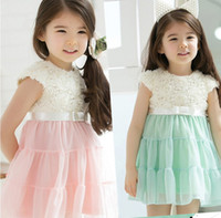 Wholesale 2014 Unique Rosette Girls Pink Green Cap Sleeve Chiffon Ball Gown Dress Princess Party Wedding Flower Girl Dresses SZ