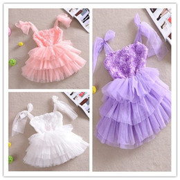 Wholesale New Children Girls Magical Stereo Flowers Tiered Gauze Cake Suspender Dresses Princess Summer Party Pinafore Rose Dress B2413