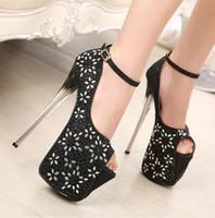 Women acme strapping - new fashion acme cm high heels rhinestone ankle strap thin gradient high heeled T model club platform shoes
