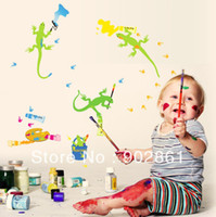 Wholesale funlife Animal Wall Sticker Oil PAINTING LIZARDS MURAL ART WALL STICKER DECAL for Nursery Room