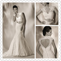 2014 Popular Style Mermaid Wedding Dresses Sexy V- Neck Lace ...