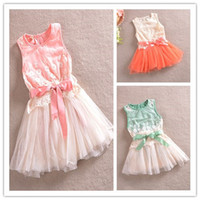 Wholesale 2014 Spring Elegant Girl s Princess Sleeveless Lace Flower Embroidery Layered Yarn Lacing Bowknot Tutu Dress Gauze Tulle Dressy Cloth C0608
