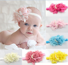 Wholesale 2013 Baby Girls Kids Adorable Hair Bands Vintage Roses Pearls Flowers Infant Children Hair Accessories Pretty Headbands Multicolor B0151