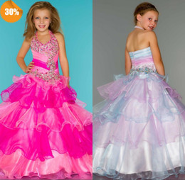Wholesale 2014 New Arrival High Quality Halter Zipper Back Ball Gown Organza Crystal Beaded Lovely Flower Girls Dresses Girls Pageant Dresses Cheap