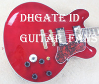 Wholesale Great Custom BB King Lucille Hollow Body Wine Red Jazz Electric Guitar Varitone Switch Output Red turtle shell Pickguard Gold Hardware