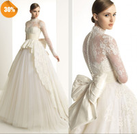 A-Line Reference Images High Collar 2014 High Neck Long Sleeves Covered Button A-Line Organza Zuhair Murad Church Sexy Lace Wedding Dresses Bridal Wedding Gowns With Bow Sash