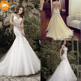 Wholesale 2014 Sweetheat Backless Mermaid Organza Lace Church Beach Sexy Wedding Dresses Cheap Sexy Handmade Flower Bridal Wedding Gowns