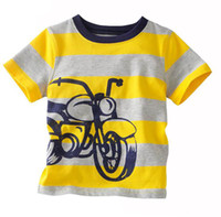 Wholesale Boy T shirts Kids Clothes Motorcycle Yellow Gray Stripe Cartoon Cotton Short Sleeve T shirts For Boy