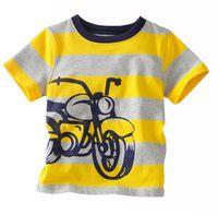 Summer motorcycle shirt - Boy T shirts Kids Clothes Motorcycle Yellow Gray Stripe Cartoon Cotton Short Sleeve T shirts For Boy
