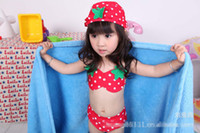 Girl bath spa days - Children bikini swimsuits cute Polka Dot Strawberries sets for girls split swimwear children bath suit spa beachwear in stock