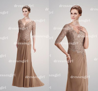 Wholesale 2014 Hot Cheap Sexy Mother Of The Bride Dresses V Neck Lace Half Sleeves Champagne Chiffon Floor Length Pleats Prom Gown
