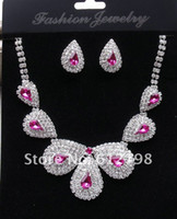 Wholesale YiWu Manufacturers to supply the bride Necklace Earring Set Bridal Jewelry Sets set rosy Acrylic necklace