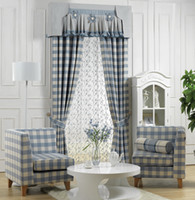 Wholesale new Width Mediterranean blue plaid curtains custom curtain finished