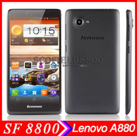 Wholesale Original Lenovo phone A880 quot MTK6582 Quad Core phone SmartPhone QHD Screen GB GB MP Camera Android with G GPS Russian unlocked
