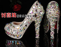 Wholesale prom heels wedding shoes women high heels crystal high heel shoes woman platforms silver rhinestone platform pumps