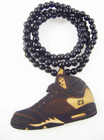 Wholesale Slam Dunk Jordan Necklace Shoes Pendant Wood Beads Hip Hop Jewelry Good Wood Necklaces