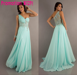 Wholesale 2014 Ner Arrival One Shoulder A Line Chiffon Designer Dresses Crystal Beaded Prom Evening Hot Lace Dresses Evening Gowns Cheap