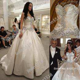 Wholesale Classic vintage Crystals And Beads With fitted On The Sweetheart Floor Length Satin Wedding Dress Ball Bridal Gown Dresses Lace up