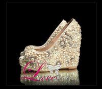 Wholesale handmade WEDDING BRIDAL HIGH HEELS SWAROVSKI CRYSTAL and PEARL FORMAL PARTY comfortable bridal shoes