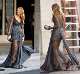 Wholesale Gossip Girl Blake Lively Zuhair Murad Long Sleeves Lace Grey Evening Dresses Evening Gown Prom Dres