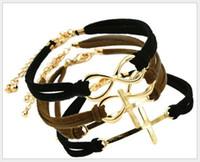 Wholesale Infinite Bracelets Fashion Bracelets Cross Infinite Symbols Anchor Leather Rope Bracelet CX0006
