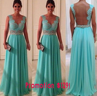 Reference Images V-Neck Chiffon V-Neck A-Line Backless Open Back Zuhair Murad Sexy Chiffon Lace Prom Dress With Crystal Sash 2014 Celebrity Prom Dress Cheap Free Shipping