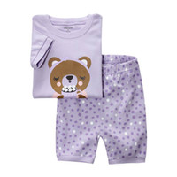 Unisex Summer 18M,24M.3T.4T.5T.6T  Baby Pajamas 8024 Children Clothes Purple Polka Dot Short Sleeve T-shirts+Shorts 2 Pcs Set Pajamas Kid Outfits
