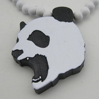 Wholesale Crazy Panda Pendant Necklace GOOD WOOD NYC Hip Hop Jewelry Wooden Handdrawn Beaded Fashion Party Necklaces