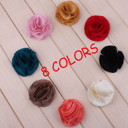 Chiffon Frilly Flower Use For Baby Headbands Hair Clips Girls Corsage Flower Hair Accessories Cotton Flowers DIY Photography props Wholesale