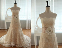 A-Line Reference Images Strapless Glamorous! NEW A-Line small tail Actual Picture Strapless Vintage Lace Sash Wedding Dress Bridal Gown Sweetheart Neckline Prom Evening