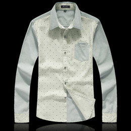 Wholesale men s fashion stitching slim collar shirts casual men shirt pluz XXXL shirts for men MCL156