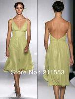Model Pictures Chiffon Sweetheart Designer Lime Green Chiffon Deep V-neck Tea Length Bridesmaid Dress