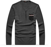 Wholesale 2014 Men V necked Pullover Sweater Pocket Decoration Cotton Sweater High Quality MZL104