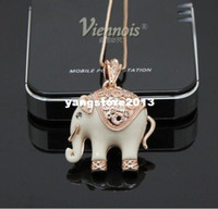 Pendant Necklaces animals personality - New Fashion Viennois jewelry necklaces crystal elephant rose gold plated women jewelry fashion and personality