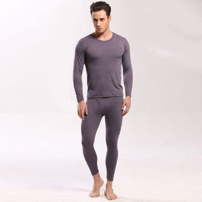 2014 Men Winter Long Johns Men Sleepwear Set Pajamas Male Crew ...