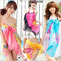 Wholesale Brand New Fashion Sexy Pareo Dress Sarong Bikini Cover Up Scarf Wrap Swim swimwear Beach Beautiful Charming