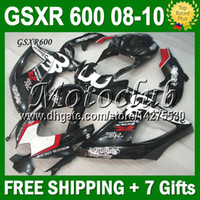 Wholesale 7gifts of K8 SUZUKI GSX R600 GSX R600 NEW Black GSXR Kit JM3758 GSXR600 black white Free Customized Fairing